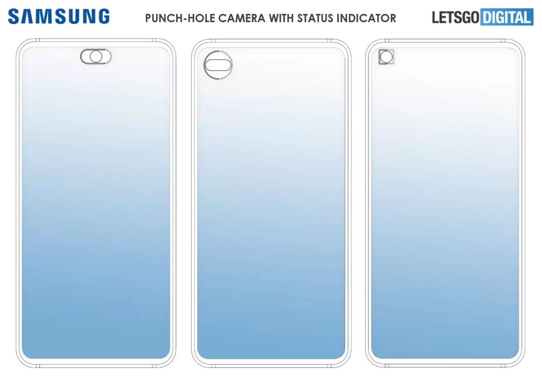 câmara de selfie do indicador de status do smartphone Samsung