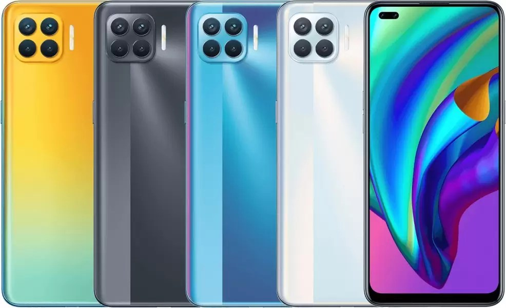 F17 Pro Diwali Edition with Matte Black, Magic Blue and Metallic White variants (from left to right)