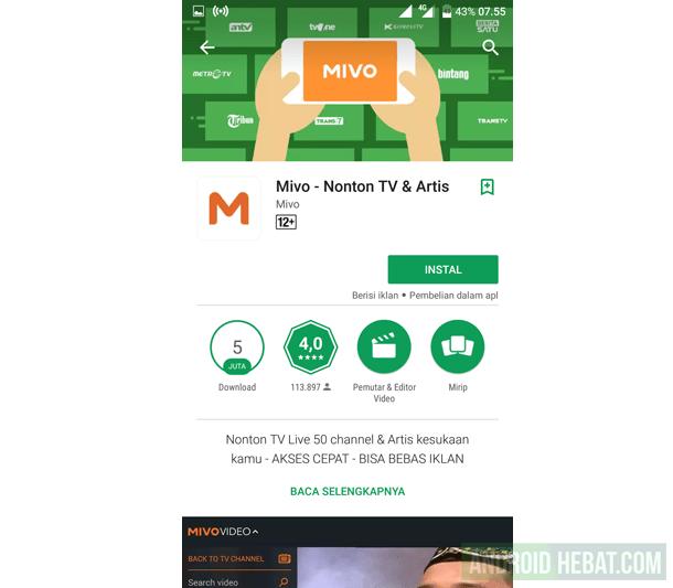 Aplikasi TV untuk Android hemat kuota