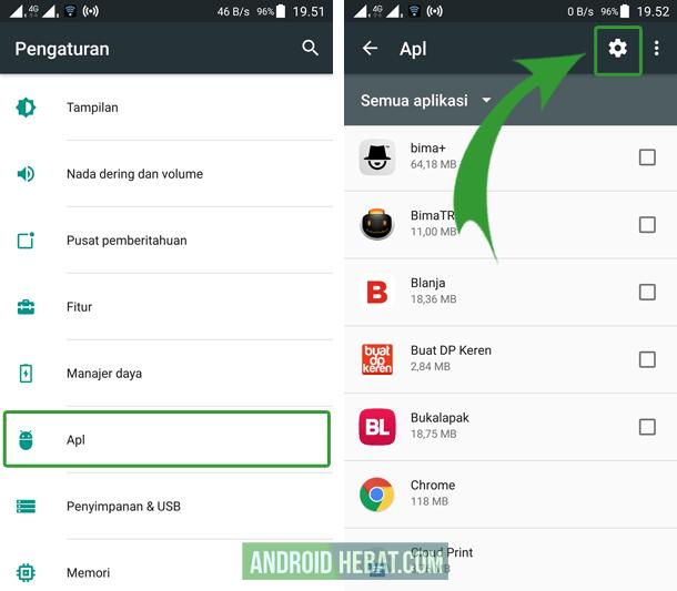 pengaturan aplikasi default di android