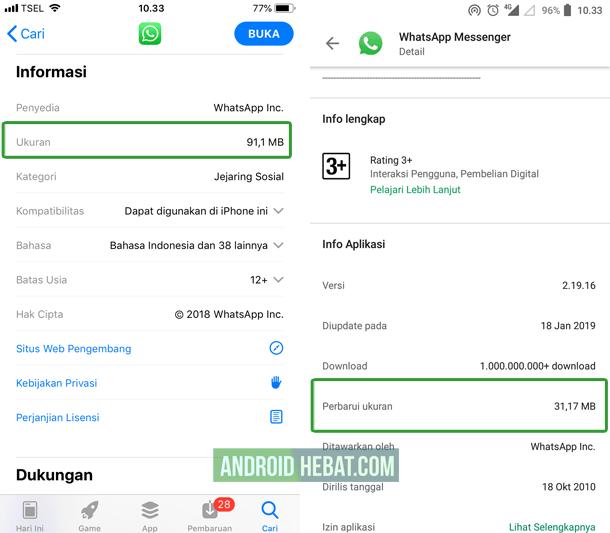 kenapa ukuran aplikasi di ios lebih besar dibandingkan android