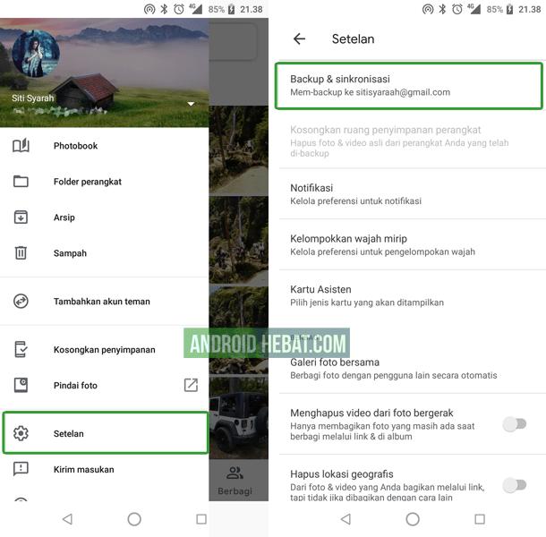 cara backup foto online di akun google