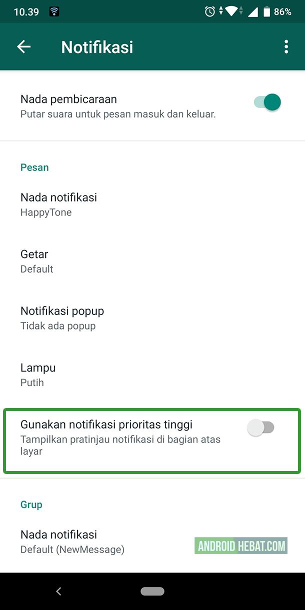 agar pesan wa tidak muncul di layar android