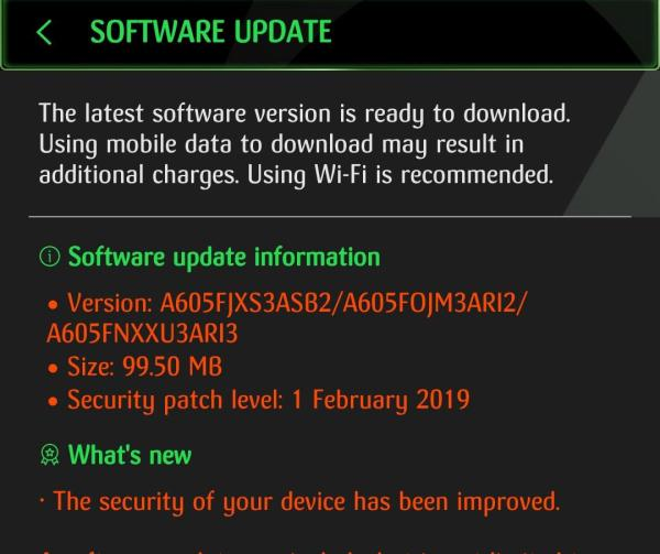 Samsung Galaxy A6+ Feb 2019 security update