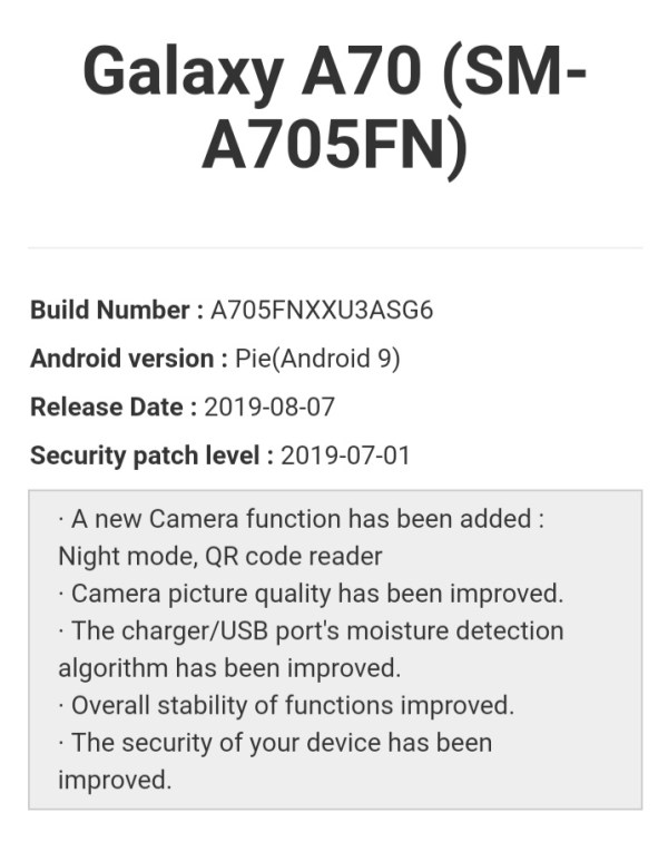 Samsung Galaxy A70 camera gets dedicated night mode and QR code