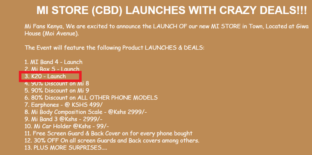 Xiaomi Redmi K20 launch in Kenya