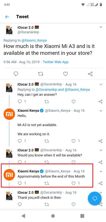 Mi A3 in Kenya