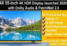Mi TV 4X 55 inch LED TV Specifications and Price In India