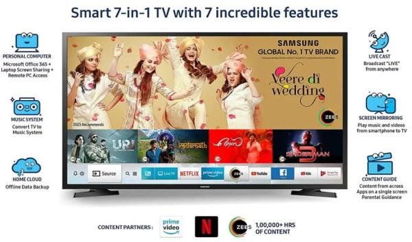 Best Samsung 100 cm (40 Inches) Smart 7-in-1 Full HD Smart LED TV UA40N5200ARXXL