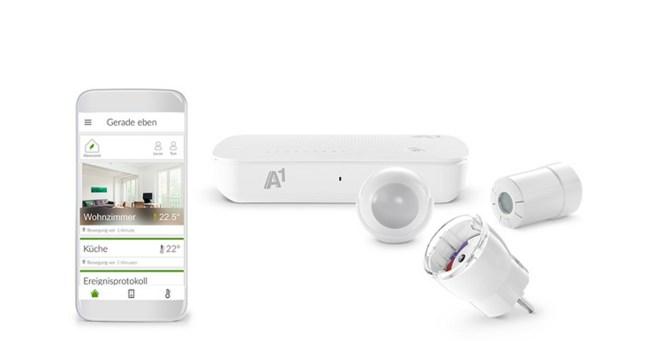 """Das Starterpaket """"Komfort"""" besteht aus dem """"A1 Smart Home Gateway"""", dem Multisensor, einem Heizungsthermostat und einer smarten Steckdose. (Foto: A1)"""
