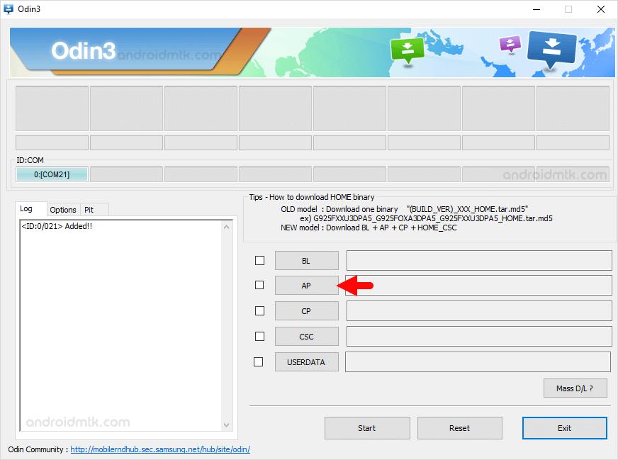 Add PDA File in Odin