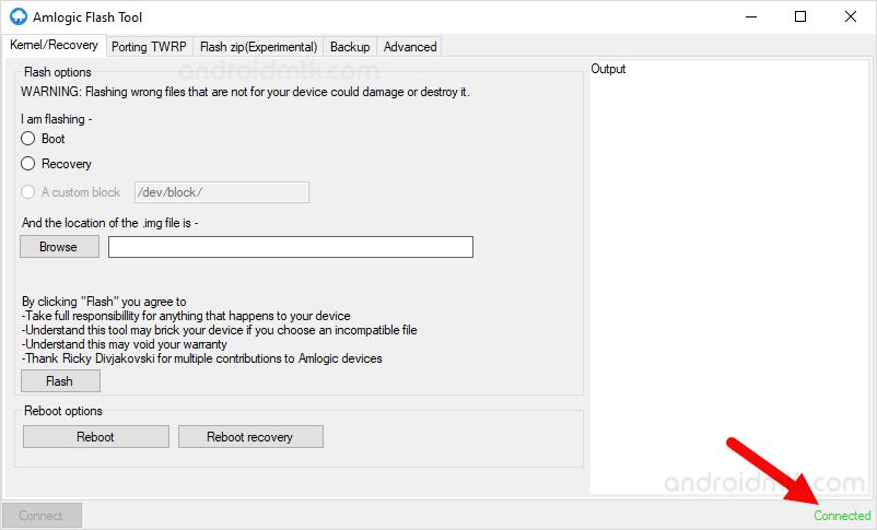Amlogic Flash Tool Connected