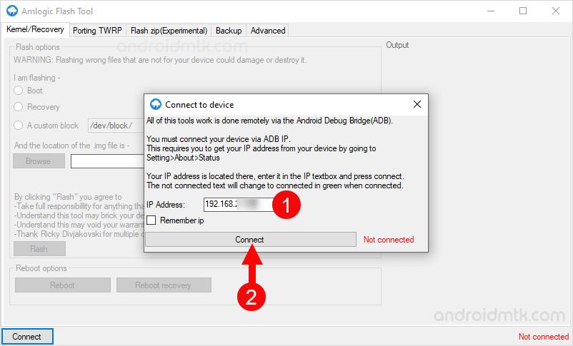 Amlogic Flash Tool IP Connect