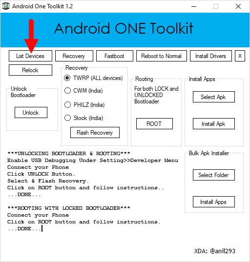 Androidonetoolkit List Devices