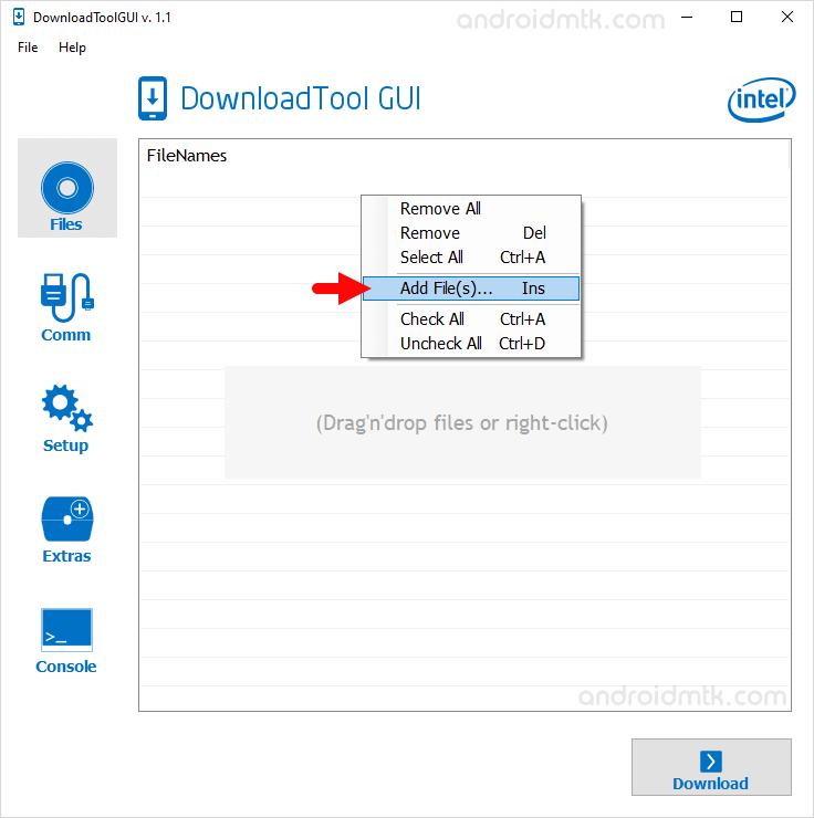 Intel Download Tool Gui Add File