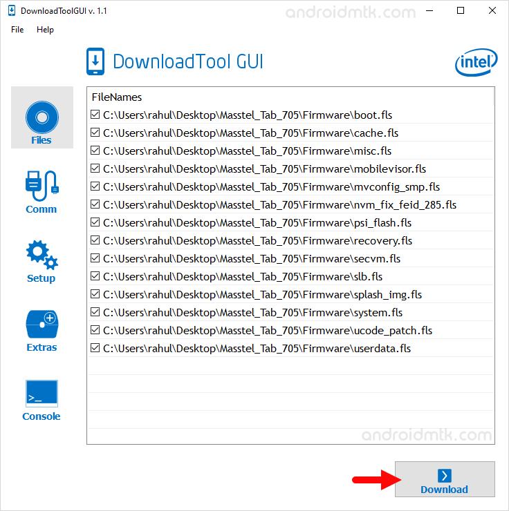 Intel Download Tool Gui Start