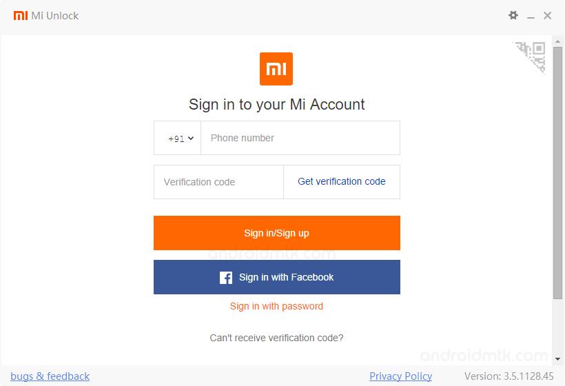Mi Unlock Tool Sign In