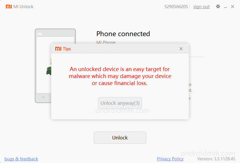 Mi Unlock Tool Unlock Warning