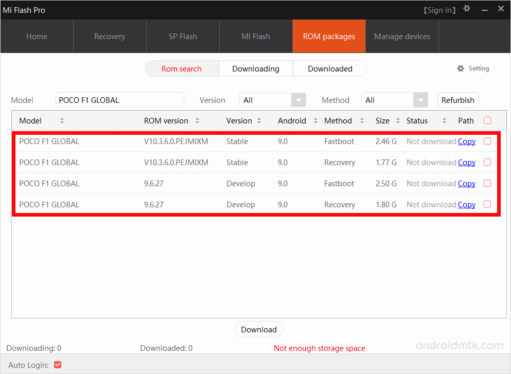 Miflash Pro Firmware List