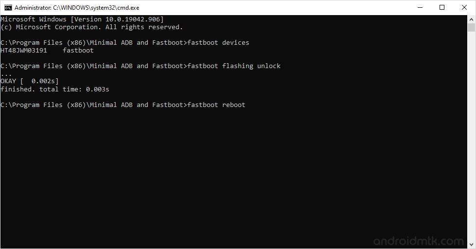 Minimal Command Fastboot Reboot