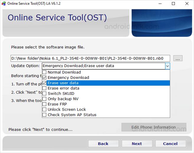 Ost Update Option List