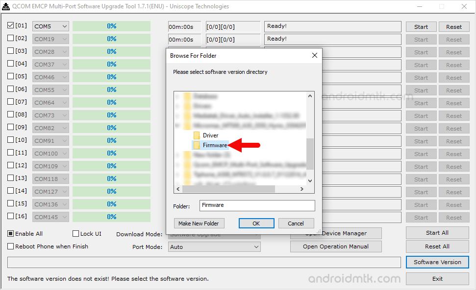 Qcom Emcp Multi-Port Choose Folder