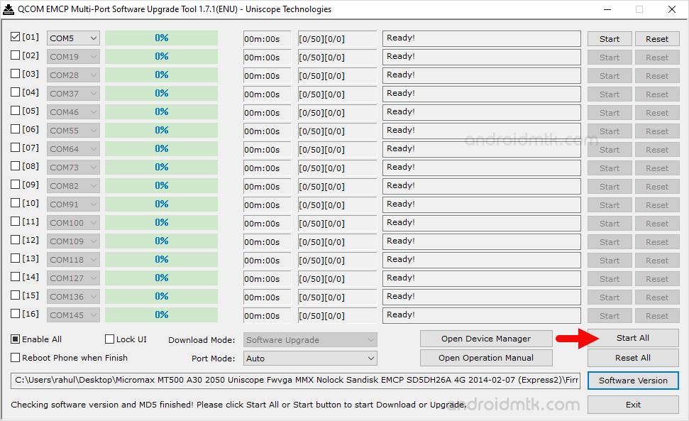 Qcom Emcp Multi-Port Start