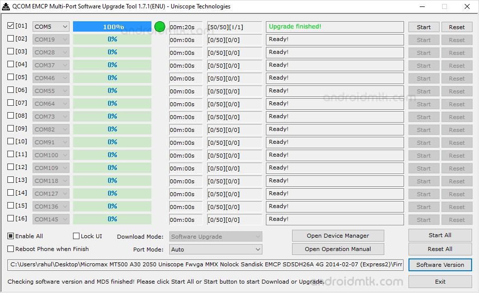 Qcom Emcp Multi-Port Startuccess