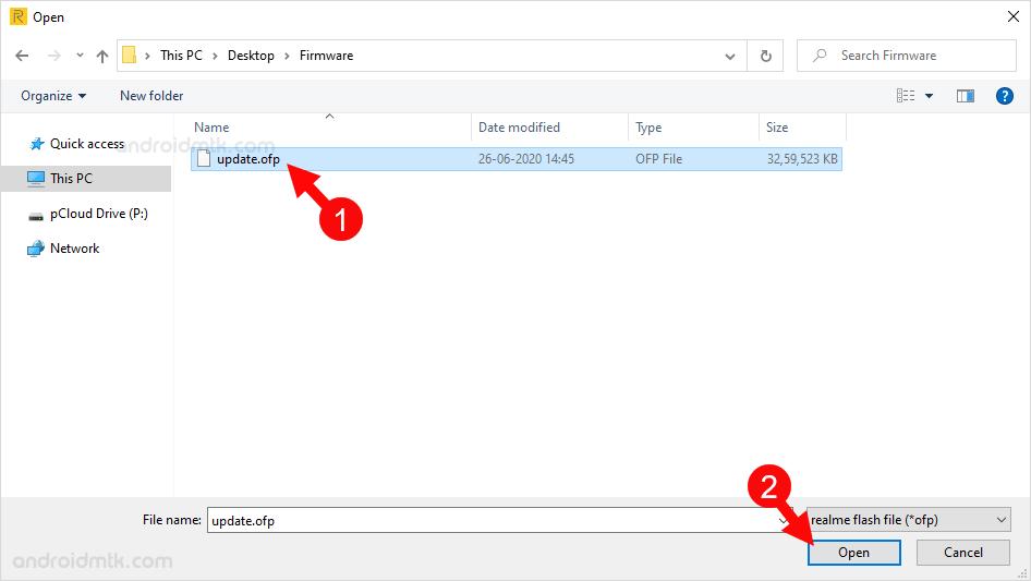Realme Flash Tool Select ofp