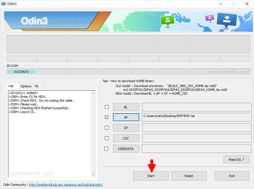 Samsung Frp Odin Start