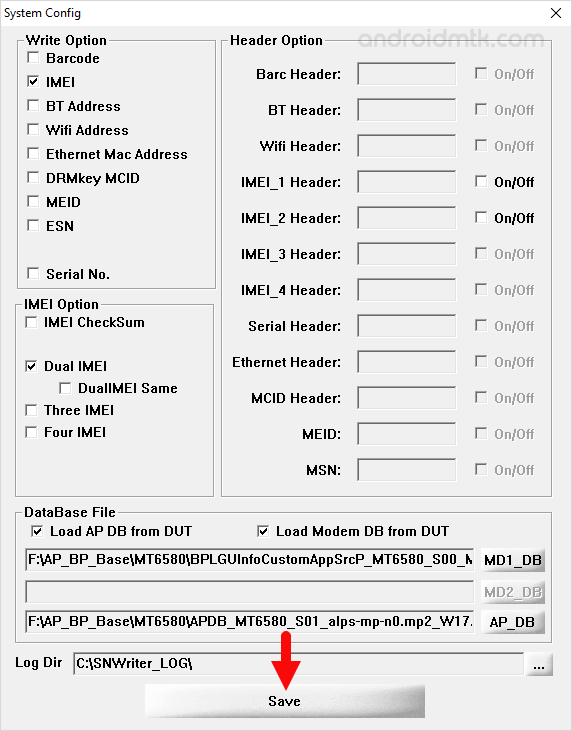 SN Write Tool Save