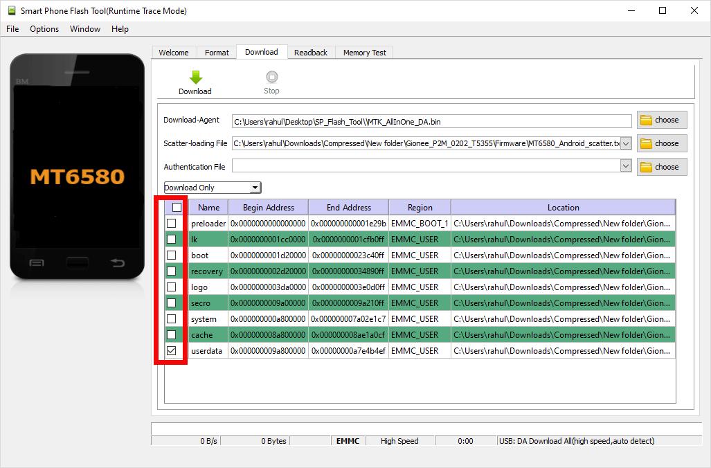 Sp Flash Tool Untick Except Userdata