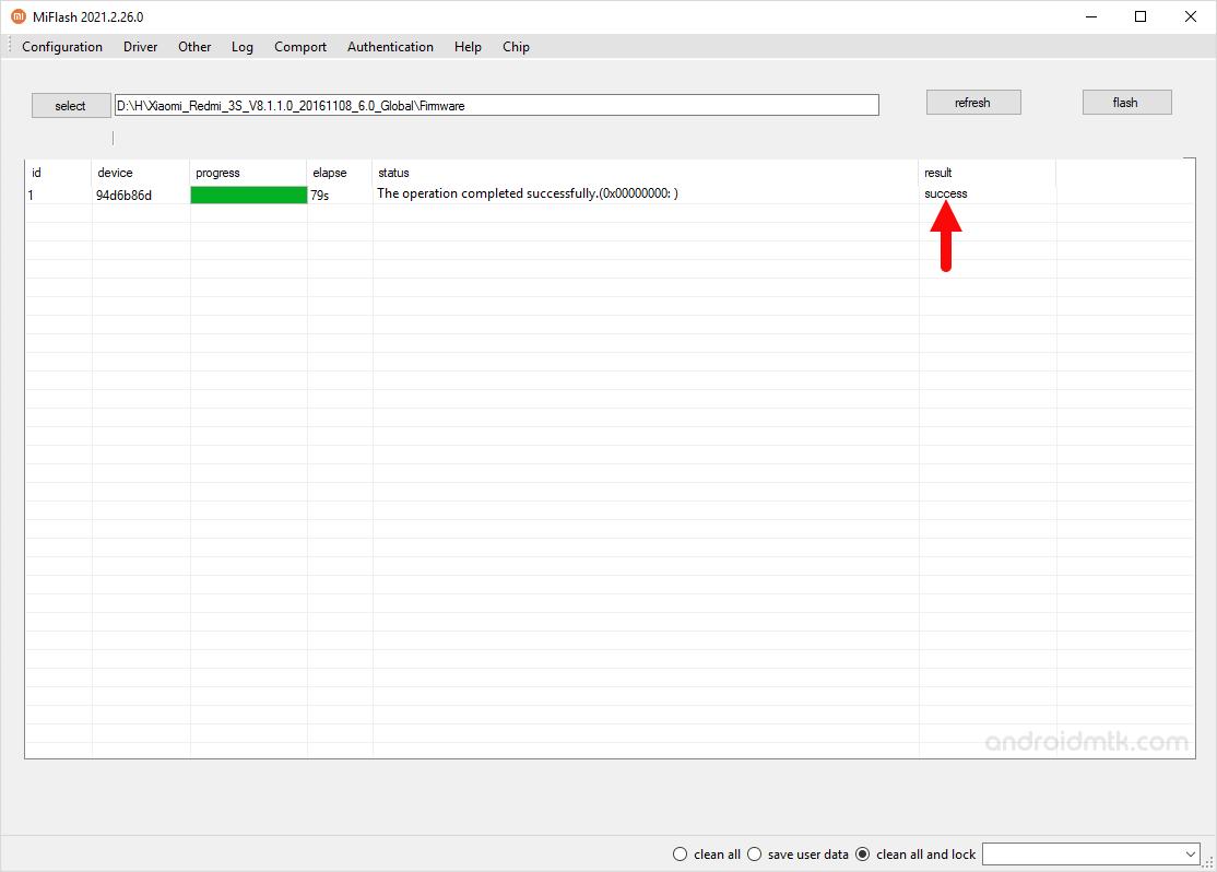 Xiaomi Mi Flash Tool Success