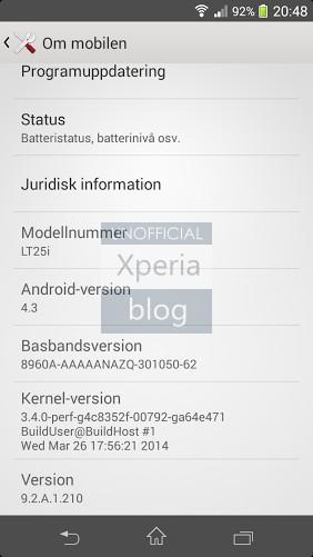 Xperia V - firmware 9.2.A.1.210