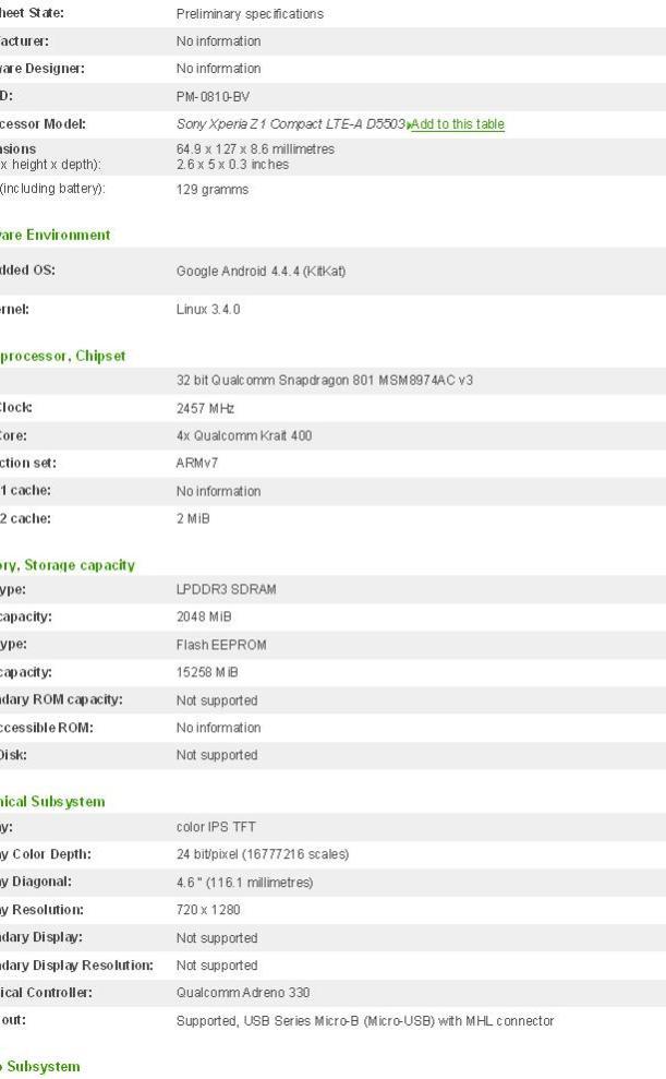 caratteristiche tecniche Xperia Z3