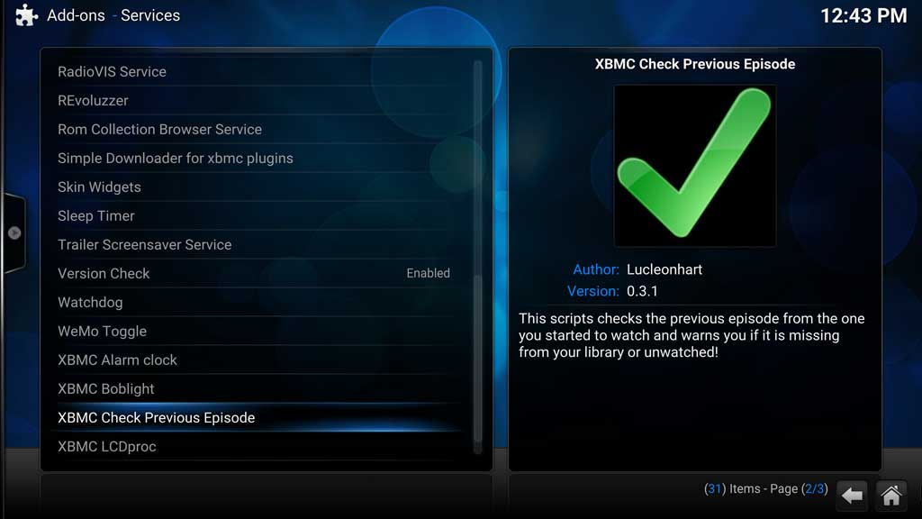 Kodi Add-ons Check Previous Episode
