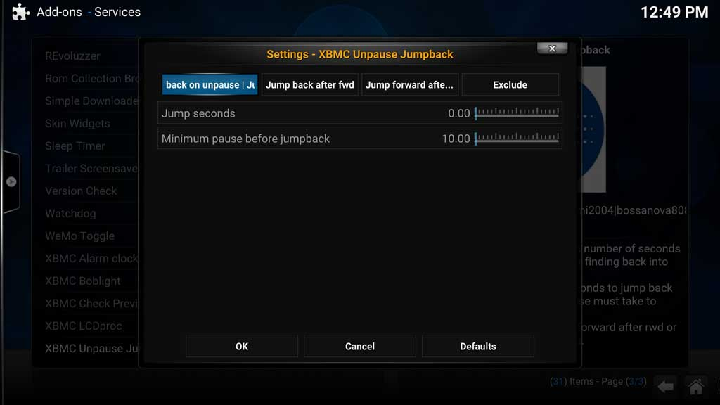 Addons Services - XBMC Unpause Jumpback settings