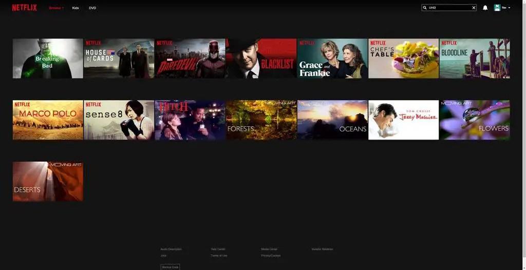 Netflix Ultra HD 4K movies