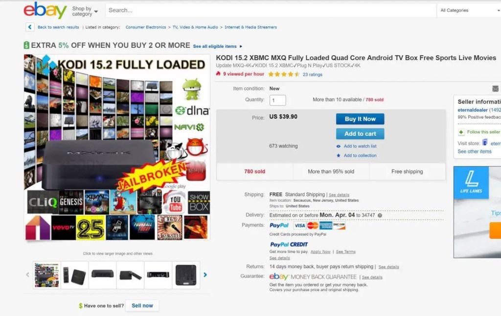 Ebay listing for cheap Kodi box