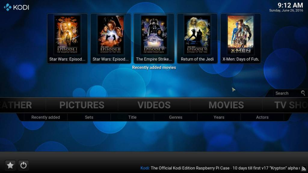 Kodi Home Screen