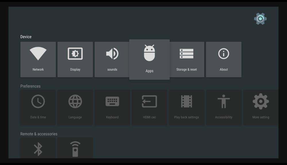 How do I reset Kodi on Android box - Settings screen