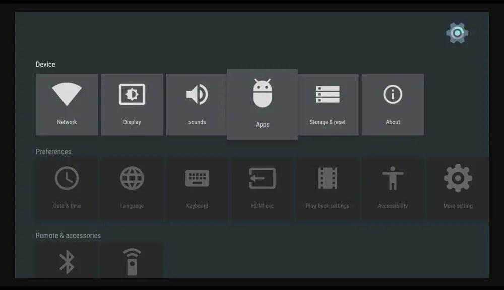 How do I reset Kodi on Android box - Settings screen