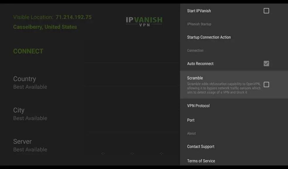 IPVanish Settings