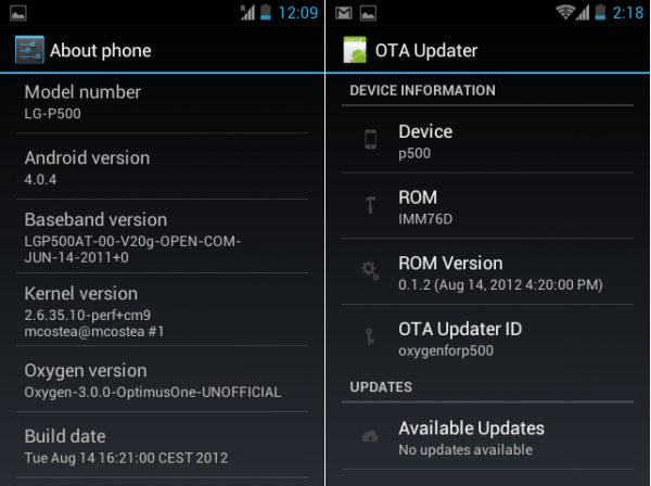 Oxygen ICS ROM OTA update e1345040714391 - Install Oxygen ROM [Ice Cream  Sandwich ICS] on LG P500 Optimus One