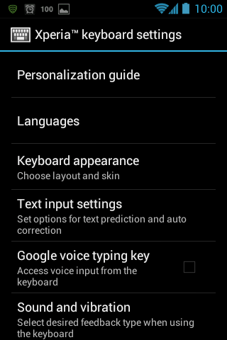 XPeria KB settings - Install the Sony Xperia S Keyboard with swipe on any ICS Device
