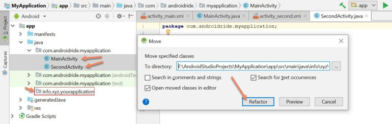 android studio how to change package name