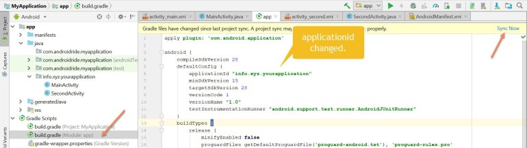 android studio change package name