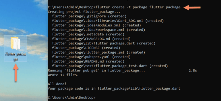 flutter create package