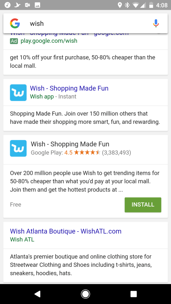 Google Search Instant Apps