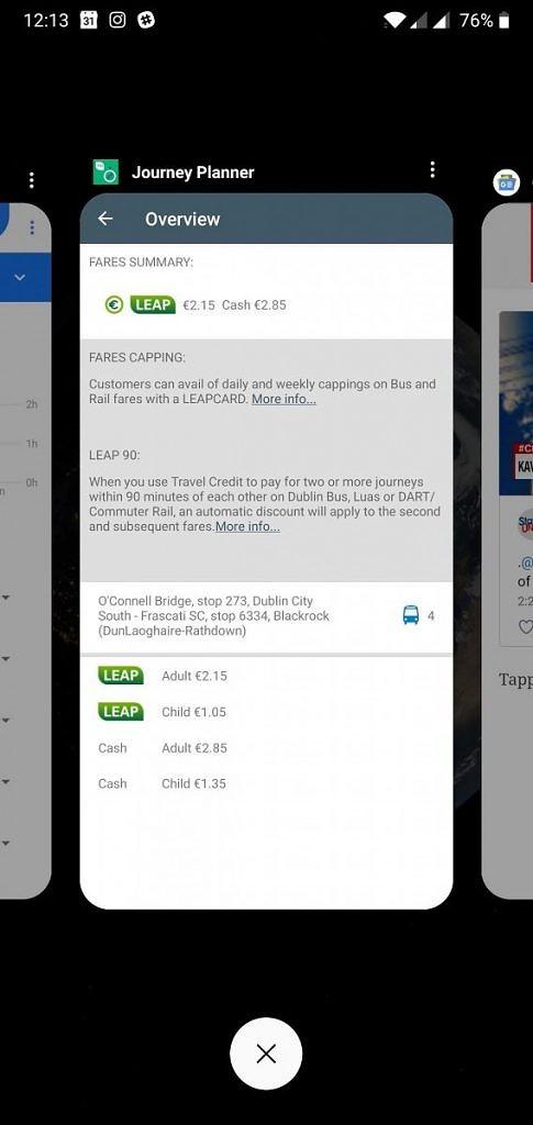Vertical Recent Apps Screen